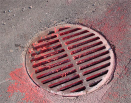 Red paint dumped down storm drain