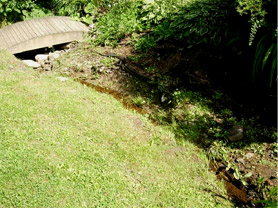 Drainage swale before construction