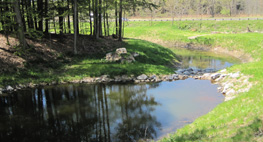 Stormwater detention pond after reconstruction